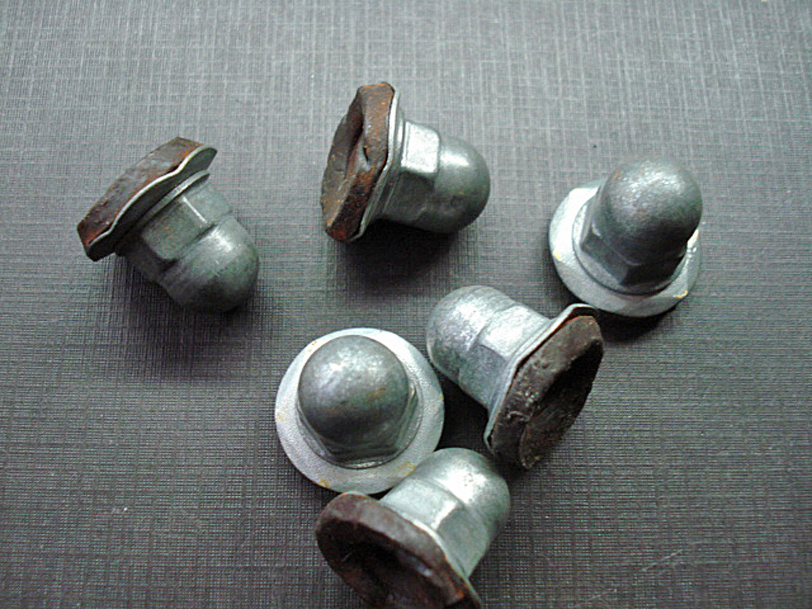 6 pcs Mopar 1/4-20 zinc plated acorn PAL nuts with mastic sealer NOS